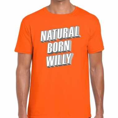 Oranje natural born willy t-shirt voor heren