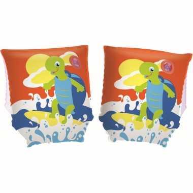 Oranje opblaas zwembandjes met schildpad