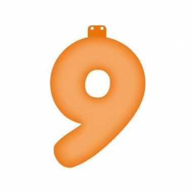 Oranje opblaasbare getal 9