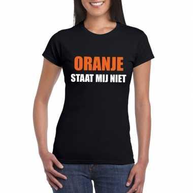Oranje staat mij niet t-shirt zwart dames