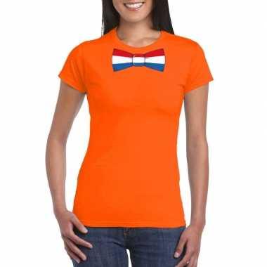 Oranje t-shirt met nederland vlag strikje dames
