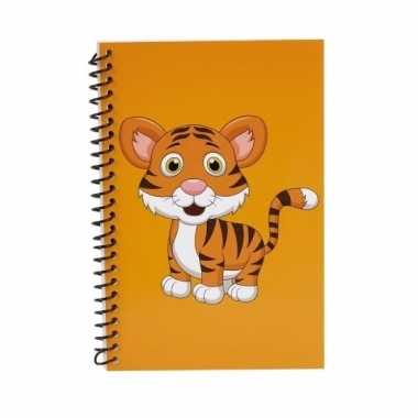 Oranje tijger notitieboekje 18cm
