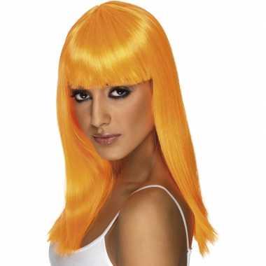 Oranje vrouwen pruik lang haar