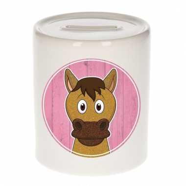 Paarden spaarpot van keramiek 9 cm