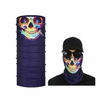 Paars biker masker gekleurd skeletprint voor volwassennen