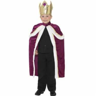 Paars met gouden koningen cape voor kinderen