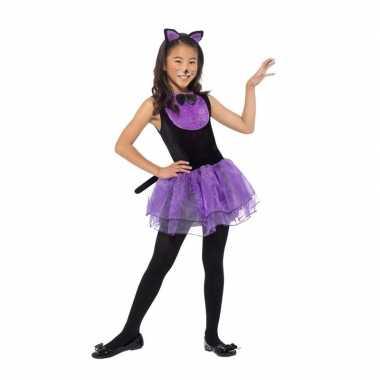 Paars/zwarte katten kostuum voor meiden
