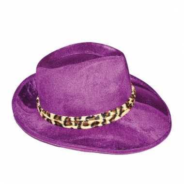 Paarse al capone hoed voor heren