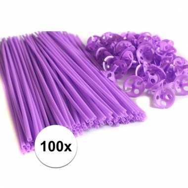 Paarse ballonnenstaafjes/ballonnenstokjes 100 stuks