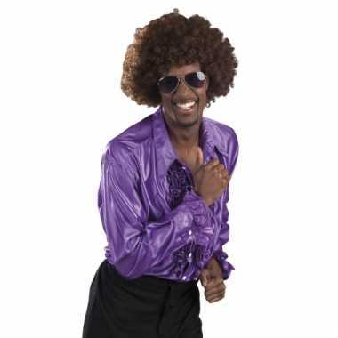 Paarse disco blouse voor heren