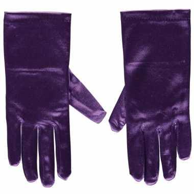 Paarse gala handschoenen kort van satijn 20 cm