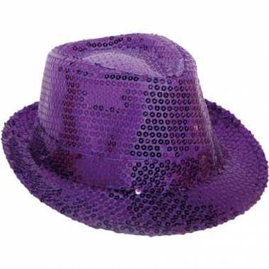 Paarse glitter hoed