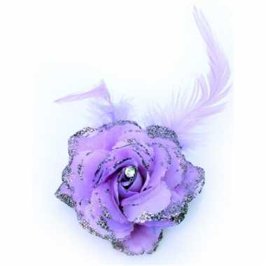 Paarse glitterbloem met elastiek en speld