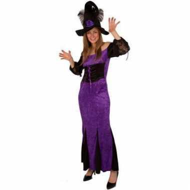 Paarse heksen kleding voor dames