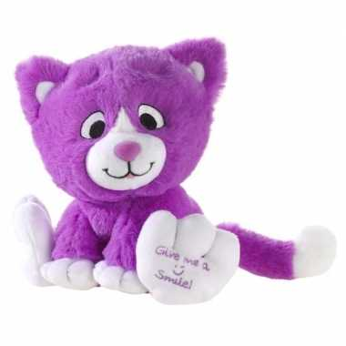 Paarse knuffel kat/poes give me a smile 14 cm