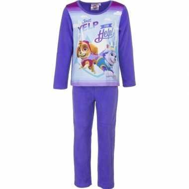 Paarse pluche paw patrol pyjama voor meisjes