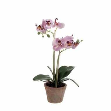 Paarse vlinderorchidee kunstplant in pot 42 cm