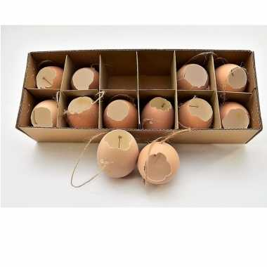 Paas hangdecoratie kippen ei bruin 12 stuks