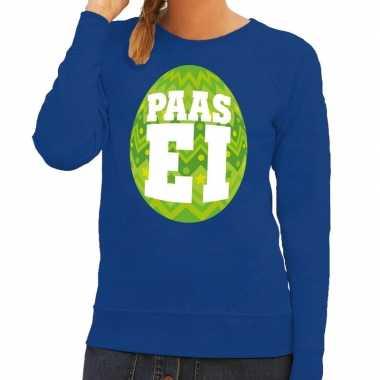 Paas sweater blauw met groen ei voor dames
