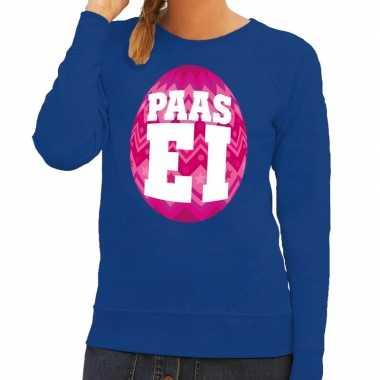 Paas sweater blauw met roze ei voor dames
