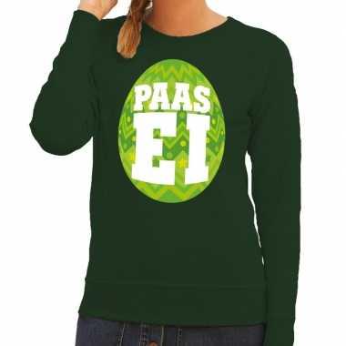 Paas sweater groen met fel groen ei voor dames