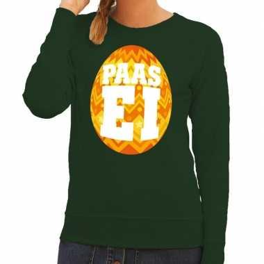 Paas sweater groen met oranje ei voor dames