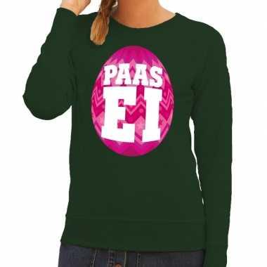 Paas sweater groen met roze ei voor dames