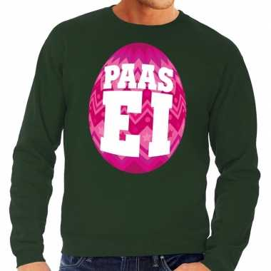 Paas sweater groen met roze ei voor heren