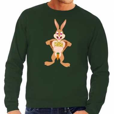 Paas sweater verliefde paashaas groen voor heren