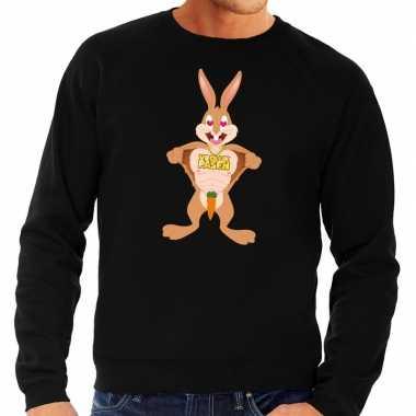 Paas sweater verliefde paashaas zwart voor heren
