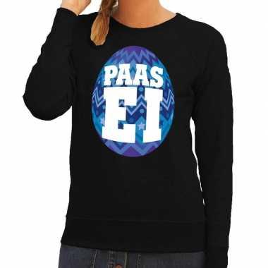 Paas sweater zwart met blauw ei voor dames
