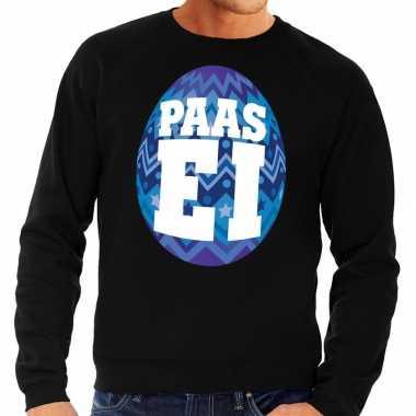 Paas sweater zwart met blauw ei voor heren