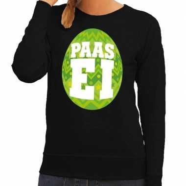 Paas sweater zwart met groen ei voor dames