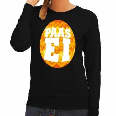 Paas sweater zwart met oranje ei voor dames