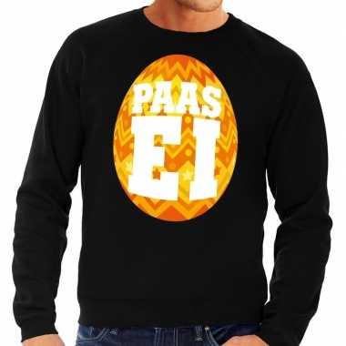 Paas sweater zwart met oranje ei voor heren