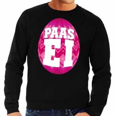 Paas sweater zwart met roze ei voor heren