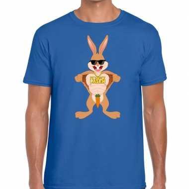 Paas t-shirt stoere paashaas blauw voor heren