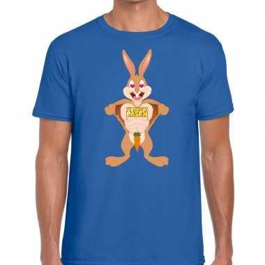 Paas t-shirt verliefde paashaas blauw voor heren
