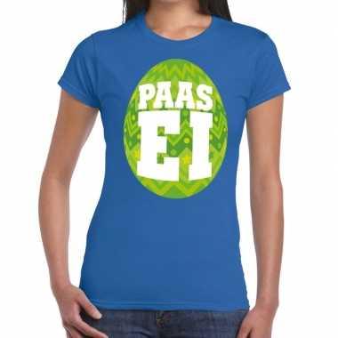 Paasei t-shirt blauw met groen ei voor dames