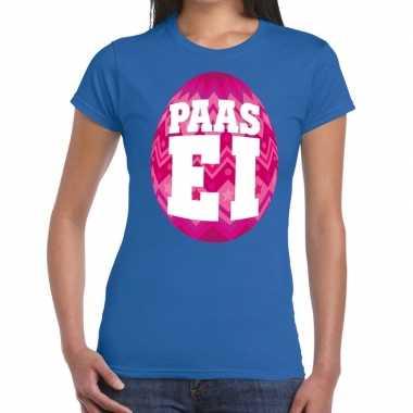 Paasei t-shirt blauw met roze ei voor dames