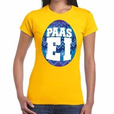 Paasei t-shirt geel met blauw ei voor dames