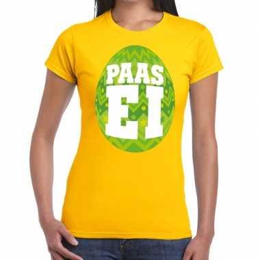 Paasei t-shirt geel met groen ei voor dames