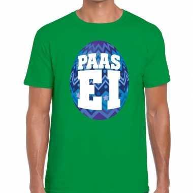 Paasei t-shirt groen met blauw ei voor heren