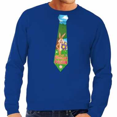 Paashaas stropdas vrolijk pasen sweater blauw voor heren