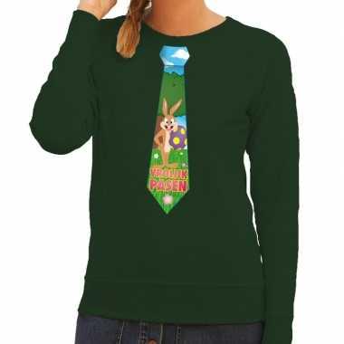 Paashaas stropdas vrolijk pasen sweater groen voor dames