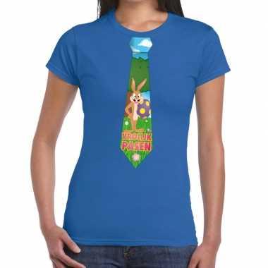 Paashaas stropdas vrolijk pasen t-shirt blauw voor dames