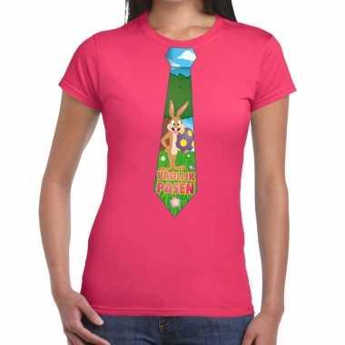 Paashaas stropdas vrolijk pasen t-shirt roze voor dames