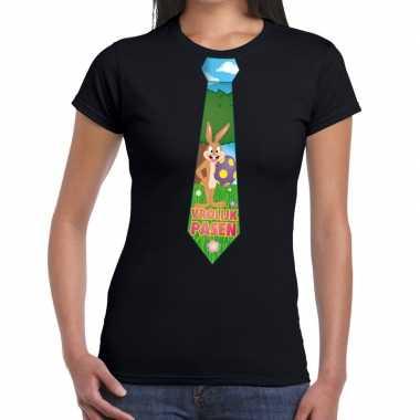 Paashaas stropdas vrolijk pasen t-shirt zwart voor dames