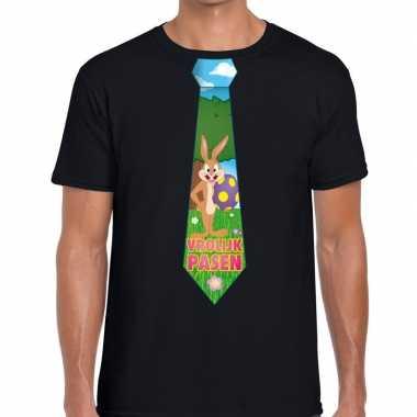 Paashaas stropdas vrolijk pasen t-shirt zwart voor heren