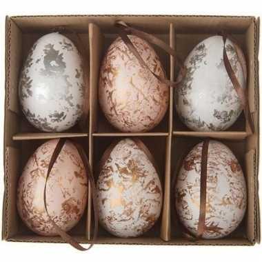 Paastakdecoratie kippen ei 6 stuks